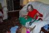 Grandboogie opening a gift