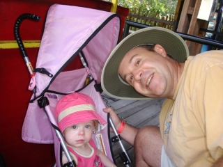 Princess and Dad on the train